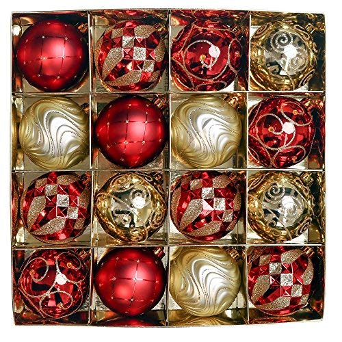Valery Madelyn 16ct 8cm クリスマス オーナメント 16個入り 赤金色 北欧風 ボールクリスマス ツリー 飾り ...