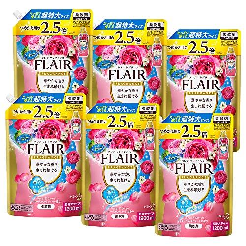 【ケース販売】フレアフレグランス 柔軟剤 フローラル&スウィート 詰替用 大容量 1200ml×6個