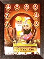 シークのLord Gurunanak Dev Ji andグル・ゴービンド・シングSingh Ji with 8他Sikh Guru外側ゴールデンTemple、A Sikh Religiousポスターwithフレーミングの宗教、ホーム、オフィス飾り、贈り物の目的