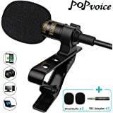 PoP Voice Professional #1 Best Lavalier Lapel Microphone Omnidirectional Condenser Mic for Apple iPhone Android & Windows Sma