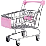 【ノーブランド品】 金属 プラスチック製 ミニショッピングカート トロリーおもちゃ 全9色選べる - ピンク