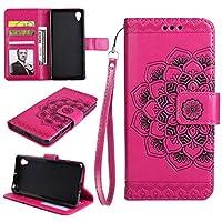Sony Xperia XA シェル, Moonmini [ ポータブル 財布 ] [ スリム 合う ] 重い 義務 保護 デザイン フリップ カバー 財布 シェル の Sony Xperia XA - Hot Pink