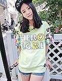 JUST clothing カジュアル ビッグプリント HERO F.G.R.L Tシャツ フリーサイズ ビッグヤード 柄 文字 レディース カラーバリエーション 豊富 トップス (グリーン)