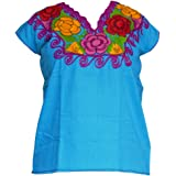 Mexican Blouses Floral Embroidery Chiapas artisans Mexican Party Day of the Dead (Choose your color & size)