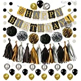 (Muti Black Banner) - Black and Gold Party Decorations Kit - 6 Pom Poms - Gold Silver Black Circle Garland - 4 Gold Paper 4 Black Paper 4 Silver Paper Tassel Gold Black Banner