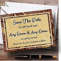 ヴィンテージブラウンゴールドポストカードスタイルPersonalized結婚を保存日付カード 20 Invitations