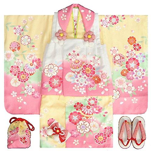 七五三 着物 3歳女の子被布セット 天使ブランド 黄色ピンク...