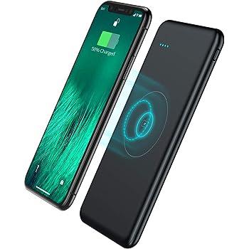 モバイルバッテリー Qi ワイヤレス充電器 10000mAh 薄型 軽量 大容量 急速充電器 Micro-USBポート搭載 有線と無線対応 3台同時充電 iPhone/iPad/Android各種対応(ブラック)