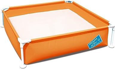 FIELDOOR フレームプール 120cm×120cm×30cm (オレンジ) ポンプいらずの簡単設置 家庭用プール