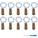 VIPMOON 20 LED Bottle Cork String Lights Wine Bottle Fairy Mini String Lights Copper Wire, Battery Operated Starry Lights for