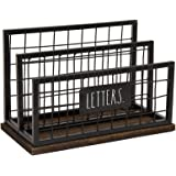 Rae Dunn Desktop Letter Holder - 2 Compartment Mail and Stationary Table Top Organizer - Chic and Stylish Galvanized Steel an