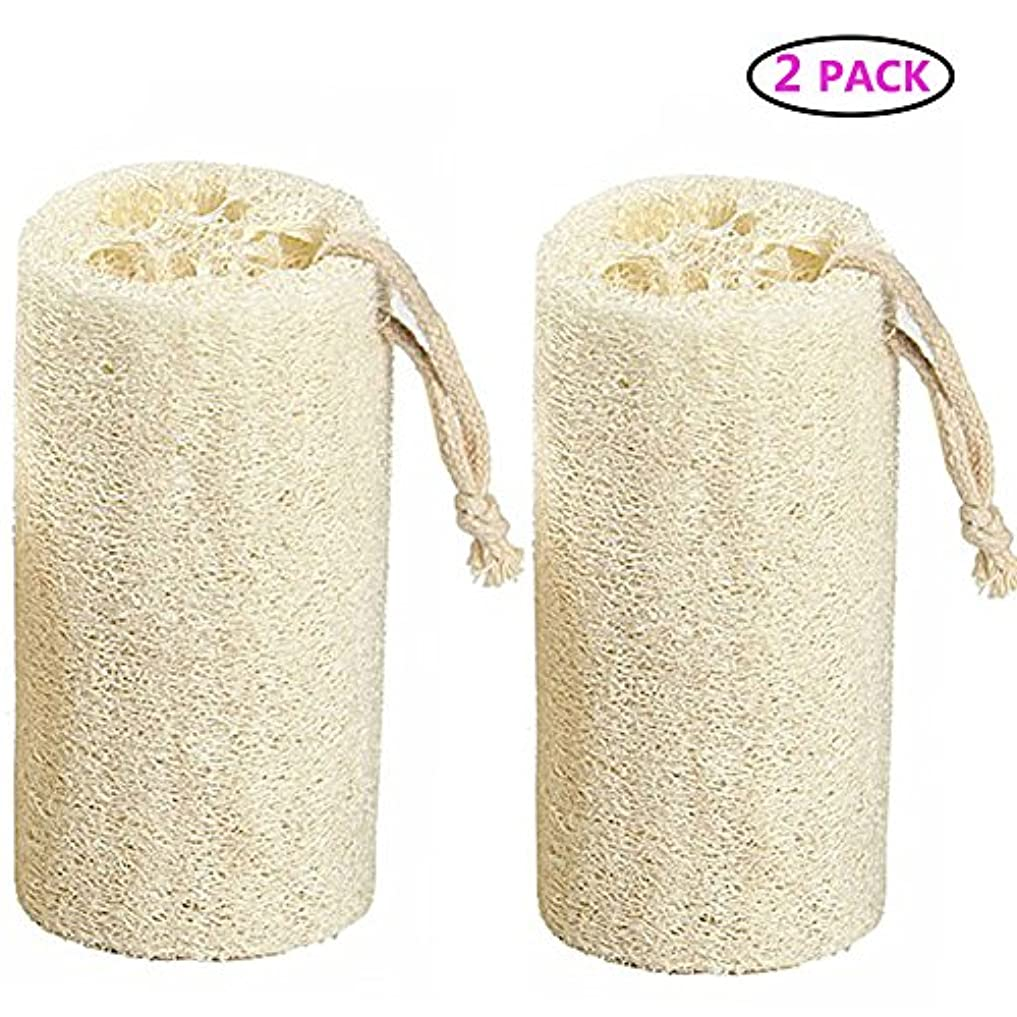 マキシム理解で出来ているNatural Loofah バスボディスポンジバスルームシャワーエクスフォレイティングスクラバーブラシボディスパマッサージャー 10cm (2 pack)