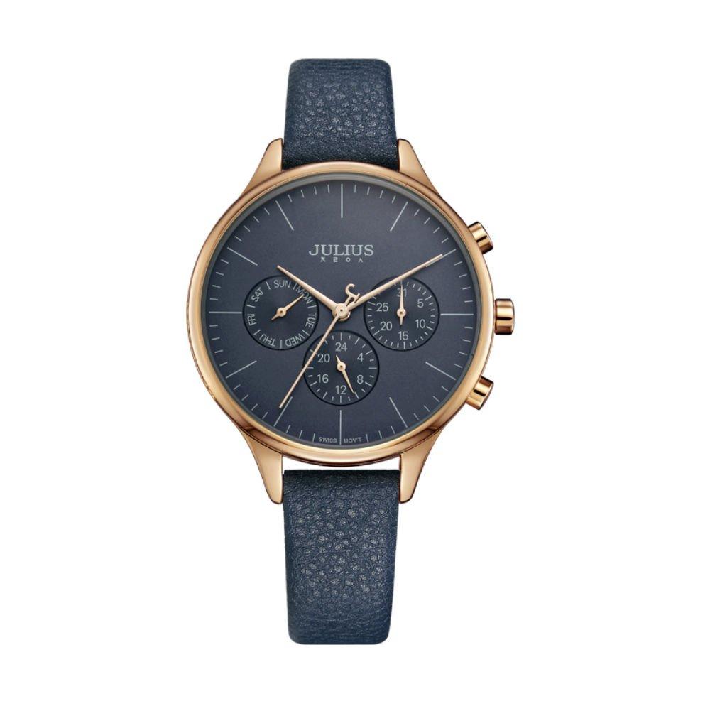 386ed61160d4 Julius JA-952E レディース 腕時計 スイス製クオーツ 日付 ユニセックス 6針多機能24時間表示 カレンダー機能 3気圧生活用防水  本革バンド (ブルー)