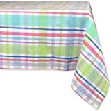 DII 100% Cotton, Machine Washable, Easter, Dinner, Summer & Picnic Tablecloth, 60 x 84, Spring Plaid, Seats 6 to 8 People