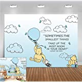 Blue Hot Air Balloon Photo Background 7x5ft Polyester Cartoon Cute Winnie The Pooh Animals Photography Backdrop Kids Bedroom