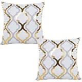 WOMHOPE 2 Pcs - 17 Geometry Gold Hot Stamping Super Soft Short Fuzzy Cushion Decorative Pillow Covers Square Throw Pillowcase