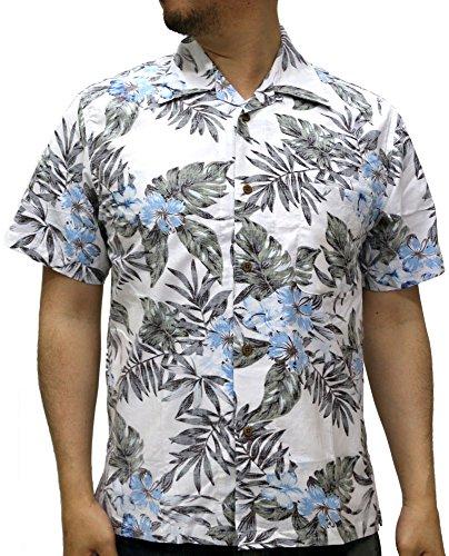 (ルーシャット) ROUSHATTE アロハシャツ 半袖 シャツ ハイビスカス 20柄 LL アイボリー