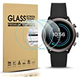 Diruite 3-Pack for Fossil Sport 43mm 2018 Screen Protector Tempered Glass for Fossil Sport 43mm Gen 4 Watch [2.5D 9H Hardness