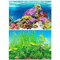 30x62cm 水族館ポスター 3D効果 バックスクリーン 両面壁紙 水槽の背景 水槽の飾り 水族植物とサンゴ礁のポスター