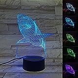 LED ナイトライト 夜灯 スタンドライト 3D 装飾ランプ 夜間照明 ホーム飾り 7種の色 個性的 三次元視覚化 面白い インテリア 置物 オブジェ おしゃれ プレゼント ギフト 贈り物 誕生日 シャーク タッチ版