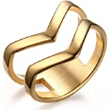 VNOX Fashion 18K Gold Plated Stainless Steel Double Chevron Ring for Women,