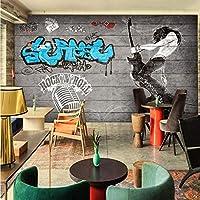Mbwlkj 写真壁紙ロック音楽バーの背景壁レストランスタジオ壁紙廊下カスタム装飾壁画-400cmx280cm