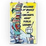 シカゴ、イリノイ州–Man Leavingシカゴからパブリックライブラリwith lots of books 36 x 54 Giclee Print LANT-25299-36x54