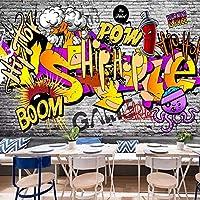 壁画カスタム3D壁紙漫画ストリート落書きアート壁画KTVバーレストランカフェ背景装飾-220X140CM