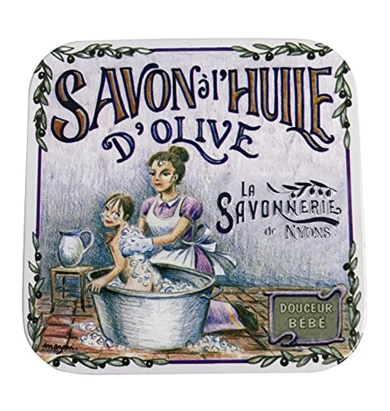 具体的にやさしいアセラ?サボネリー アンティーク缶入り石鹸 タイプ100 ハウスワイフ(ローズ)