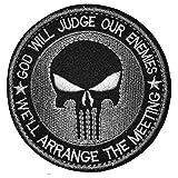 (ガンフリーク) GUN FREAK ミリタリー パッチ ワッペン god will judge our enemies 刺繍 サバゲー (シルバー)