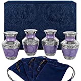 Eternal Peace Lavender Small Keepsake Urns for Human Ashes - Set of 4 - This Timeless and Beautiful Urn is Perfect to Honor Your Loved One - Warm and Comforting Urn for Your Cherished Remains