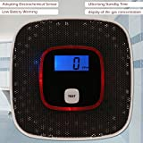 OBET 一酸化炭素 警報機 大音量 アラーム CO濃度表示 電池式 COアラー ム 不完全燃焼を検知 キャンプ テント内 車泊中用 (ブラック)