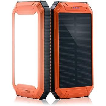 PowerGreen モバイルバッテリー 10000mAh ソーラーチャージャー/パネル 防水 2USBポート iPhone&Android対応