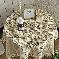 [テンカ]テーブルクロス 長方形 円形 コットン製 テーブルカバー フリンジ 飾り布 手作り 素朴 エレガント 雰囲気 インテリア ギフト 新築お祝い 140×140cm