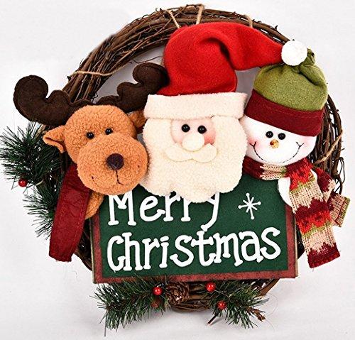 Syareo(シャレオ)Merry Christmas クリスマスリース 手作り玄関リース ドアリース 籐 リング ハンドメードクリスマスリース 壁掛け デコレーション 可愛いサンタ/スノーマン/エルク Xmas雰囲気満点 直径35cm