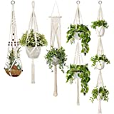 Macrame Plant Hangers, 5-Pack Handmade Cotton Rope Hanging Planters Set Flower Pots Holder Stand,Different Tiers, for Indoor