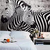 Weaeo 大きな黒と白のゼブラ動物3Dの壁紙寝室の3D壁画壁画壁の壁の壁画壁紙の3Dステッカー-400X280Cm