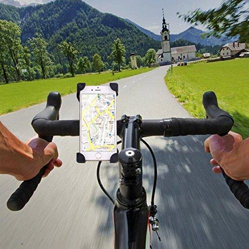 COOWOO バイクホルダー 自転車スタンド GPSナビ・スマホ・iPhone固定用 バーマウントキット 360度回転 脱落防止(一年間の保証付き) スマホ/iPhoneに多機種対応(ブラック)