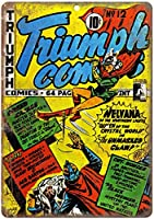 Triumph Comic 注意看板メタル安全標識注意マー表示パネル金属板のブリキ看板情報サイントイレ公共場所駐車ペット誕生日新年クリスマスパーティーギフト