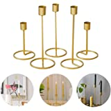 Baffect Set of 5 Gold Candle Holder for Taper Table, Decorative Candlestick Holders for Wedding, Party Dinner Feast Decor Fit