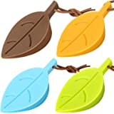 4Pcs Door Stopper Wedge Finger Protector, HNYYZL Silicone Door Stops, Cute Colorful Cartoon Leaf Style Secure Flexible Decora