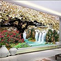 Hwhz カスタム任意のサイズの壁画3D自然の壁紙現代の桜の木の滝風景の壁絵画リビングルームの家の装飾-150X120Cm