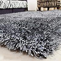 KuangfuMall ラグ暗号化ストレッチシルク寝室のカーペットリビングルーム家庭用コーヒーテーブルマットフーショップソファ敷物エリアラグ (Color : Black and Gray, サイズ : 1.8x2.5)