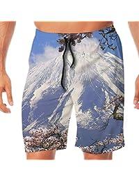 メンズ水着 ビーチショーツ ショートパンツ 桜 富士山 スイムショーツ サーフトランクス 速乾 水陸両用 調節可能