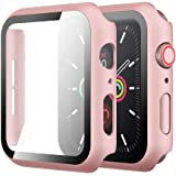 Simpeak Case with Glass Screen Protector Compatible with Apple Watch 40mm Series 4 5 6 SE, Full Coverage Slim Hard Case Built