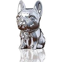 D・STONE 犬 高級 貯金 箱 オシャレ オーナメント バンク インテリア 置物 オブジェ 装飾 (銀色)