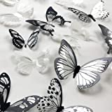 V-Time 36 PCS 3D Colorful Crystal Butterfly Wall Stickers with Adhesive Art Decal Satin Paper Butterflies Baby Kids Bedroom H