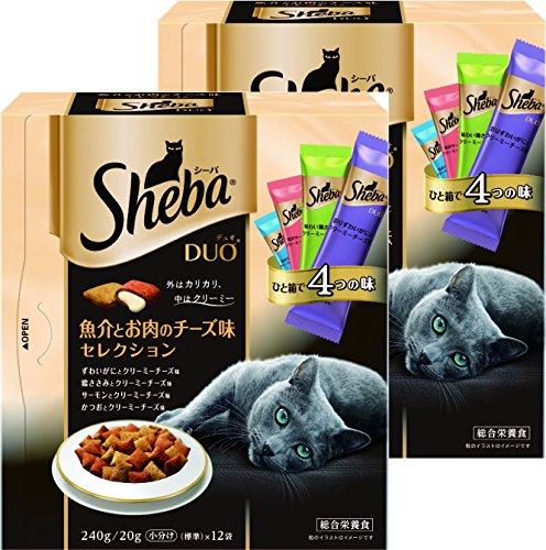 シーバ (Sheba) デュオ 成猫用 魚介とお肉のチーズ味セレクション 240g(20g×12袋入り)×2個セット [キャットフード・ドライ]