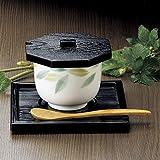 竹物語り 陶雅 M 茶碗蒸し八角蓋のみ黒木目 10×9.3×1.5? 75442-807