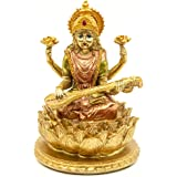 BangBangDa Hindu Lord Goddess Saraswati Statue - Indian Idol Sitting on Lotus Sculpture - India Knowledge, Music, Arts, Wisdo